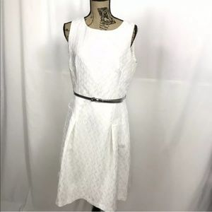 WHBM Jacquard Fit Flare Silver Belted White Dress